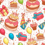 Cute birthday seamless background Stock Images