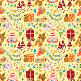 Cute birthday seamless pattern. Vector illustration Stock Images