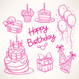 Cute birthday set Stock Images