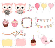 Cute birthday set with pink owls and balloons Stock Photography