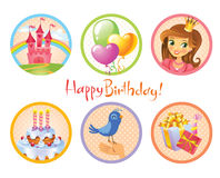 Cute birthday stickers Stock Photography