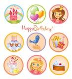 Cute birthday stickers Stock Photos