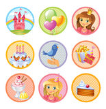 Cute birthday stickers Royalty Free Stock Images