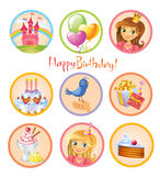 Cute birthday stickers Royalty Free Stock Photography