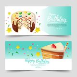 Cute birthday theme banner with cute tart. And one slice of cake Royalty Free Stock Photos