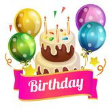 Birthday tower tart with balloon. Cute birthday tower tart with cute balloon Stock Photos