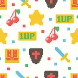 Cute 8 bit game seamless pattern. Vector background Royalty Free Illustration