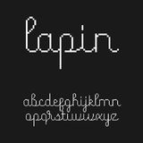 Cute 8-bit style script font. With Latin letters in lowercase Stock Photo