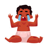 Cute black, African American baby, child in diaper crying hard Royalty Free Stock Photography