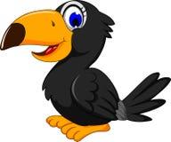 Cute black bird cartoon. Illustration of cute black bird cartoon Royalty Free Stock Photo