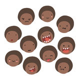Cute black boy emoji. Isolated faces. Stock Images