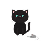 Cute black cartoon sitting cat looking at mouse. Mustache whisker. Funny character. Flat design. White background. Isolated Stock Photography