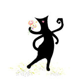 Cute black cat with bunch of flowers. Illustrated romantic cute black cat with bunch of flowers Royalty Free Stock Photography
