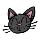 Cute Black Cat Cartoon Stock Images