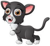 Cute black cat cartoon waving Royalty Free Stock Photos