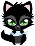 Cute black cat and fish Royalty Free Stock Photo