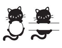 Cute Black Cat Frame Vector Illustration. Cute black silhouette cat round and rectangular frame vector illustration royalty free illustration