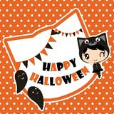 Cute black cat girl with ghosts on polka dot background  cartoon illustration for halloween card design. Wallpaper and kid t-shirt design Stock Photo