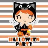 Cute black cat girl, Jack O Lantern and ghosts in Halloween party  cartoon illustration for halloween card design Stock Photos