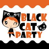 Cute black cat girl in black cat party  cartoon illustration for halloween card design. Wallpaper and kid t-shirt design Royalty Free Stock Images