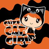 Cute black cat girl on wave background  cartoon illustration for halloween card design. Wallpaper and kid t-shirt design Stock Photos