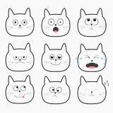 Cute black cat head set. Funny cartoon characters Stock Image