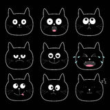 Cute black cat head set. Funny cartoon characters. Different emotions faces collection.  Stock Photography