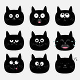 Cute black cat head set. Funny cartoon characters. Emotion collection.  Stock Images