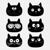Cute black cat head set. Funny cartoon characters. White background. Isolated. Flat design. Royalty Free Stock Photos
