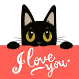 Cute Black Cat Holding A Message Board With The Text  I Love You. Handdrawn Inspirational And Encouraging Quote. Stock Photo