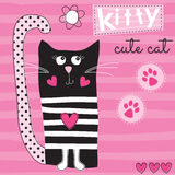 Cute black cat kitty vector illustration Royalty Free Stock Photo
