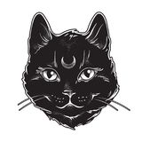 Cute black cat with moon on his forehead line art and dot work. Wiccan familiar spirit, halloween or pagan witchcraft theme tapest vector illustration