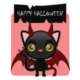 Cute black cat posing as a devil. For Halloween Stock Photography