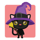 Cute black cat posing as a witch Royalty Free Stock Photography