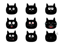 Cute black cat set. Funny cartoon characters. Emotion collection. Happy, surprised, crying, sad, angry, smiling. White background. Stock Photo