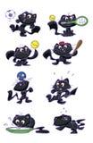 Cute black cat sport set Stock Images