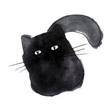 Cute black cat. Watercolor kids illustration with domestic anima. L. Lovely pet. Hand drawn illustration perfect for gift cards, post cards, greeting cards, t Royalty Free Stock Image