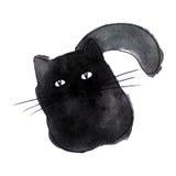 Cute black cat. Watercolor kids illustration with domestic anima stock illustration