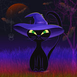Cute black cat in a witch's hat card template. Halloween night vector poster with cute black cat wearing witch's hat against scary night background with creepy Royalty Free Stock Photos
