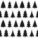 Cute black christmas tree on a white background pattern seamless. Vector Stock Images