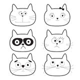Cute black contour cat head set. Funny cartoon characters. White background. Isolated. Flat design. Stock Photography