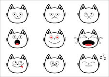 Cute black contour cat set. Funny cartoon characters. Emotion collection.  Royalty Free Stock Image