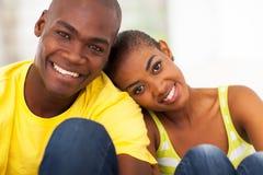 Cute black couple. Close up portrait of cute black couple royalty free stock image