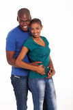 Cute black couple. Potrait of cute black couple on white royalty free stock images