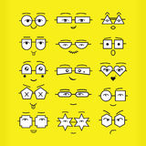 Cute black emoticons faces with geometrical eyeglasses icons set on yellow background. Cute black emoticons faces with different geometrical shapes eyeglasses Stock Photo