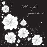 Cute black floral card background. Stock Photo