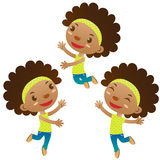 Cute black girl. Jumping and dancing Royalty Free Stock Photography