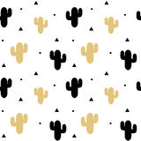 Cute black and gold cactus seamless pattern background illustration. Cute black and gold cactus seamless vector pattern background illustration Stock Images