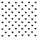 Cute black hearts abstract background. Geometric texture heart shapes. For pattern, greeting card, t shirt print, graphic poster, royalty free illustration