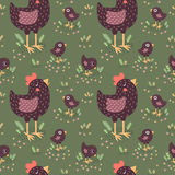 Cute black hens with baby chickens vector seamless pattern Stock Photos